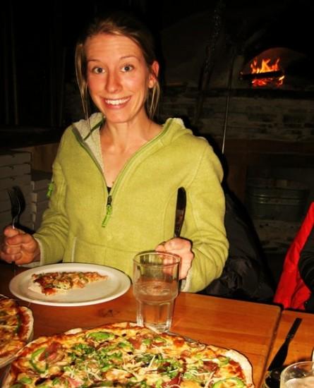 Morgan Smyth enjoying her pizza