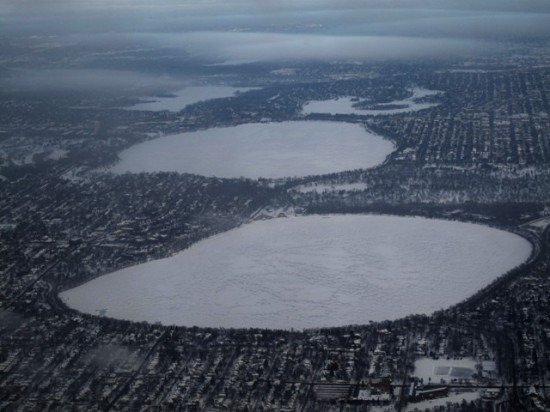 From front to back: Lake Harriett, Lake Calhoun, Lake of the Isles, and Cedar Lake