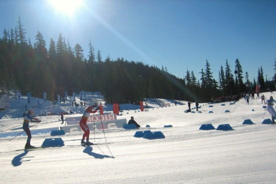Kikkan Randall taking Team Sprint Bronze at 2009 Whistler World Cup with Liz Stephen