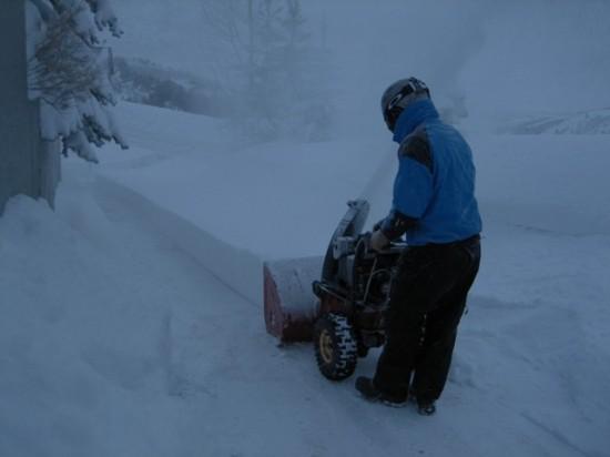 Greg blowing snow.