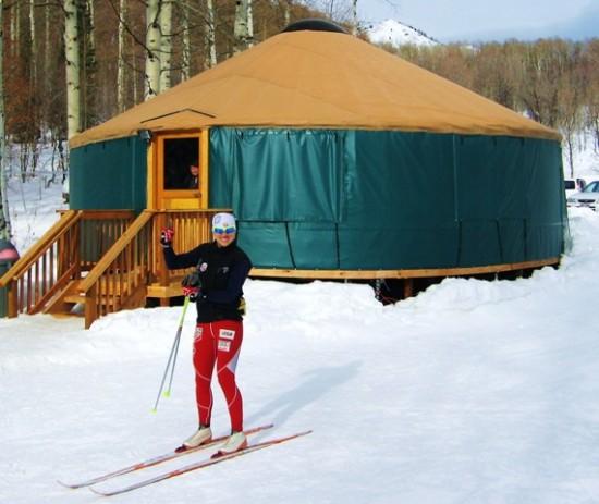Liz heading past the yurt/warming hut at the trailhead