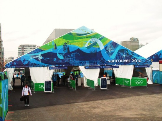enterance, including airport style security, to the vancouver athlete village