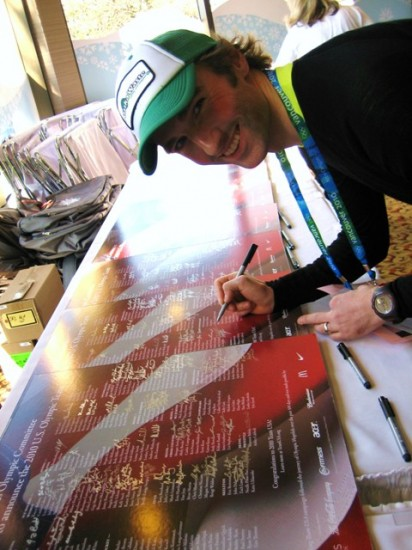 james signing posters