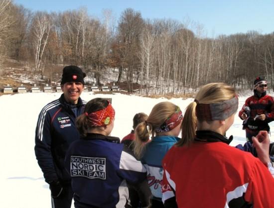 Piotr Bednarski instructs the Novice Biathletes